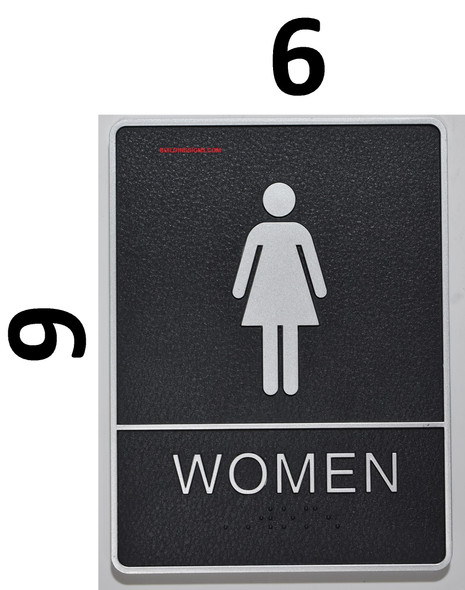 WOMEN Restroom Sign- The Standard ADA line, Black