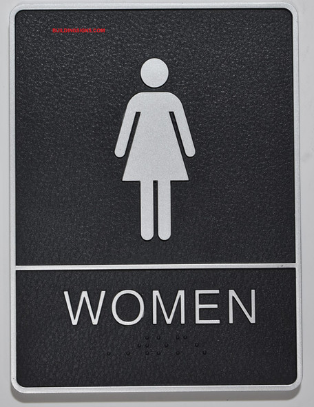 WOMEN Restroom Sign- The Standard ADA line, Ada Sign