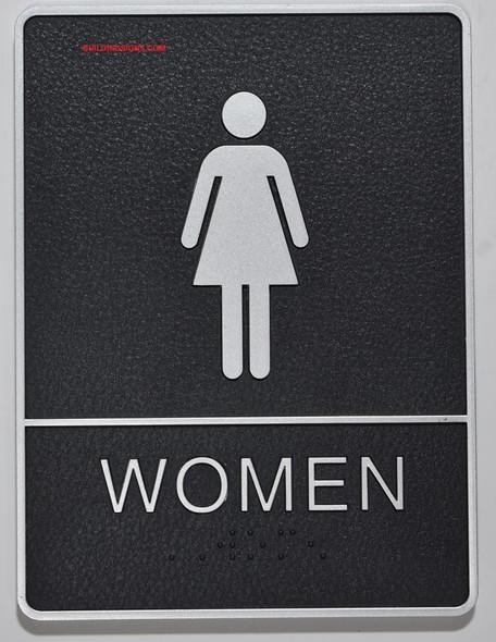 WOMEN Restroom Sign- The Standard ADA line, Ada Sign
