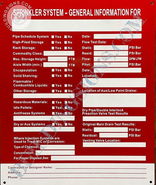 Sign Sprinkler System General Information