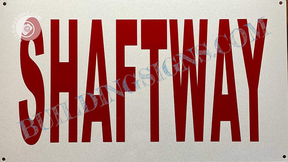 Sign SHAFTWAY  (White, Reflective)
