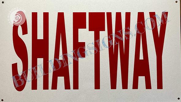 Signage SHAFTWAY  (White, Reflective)
