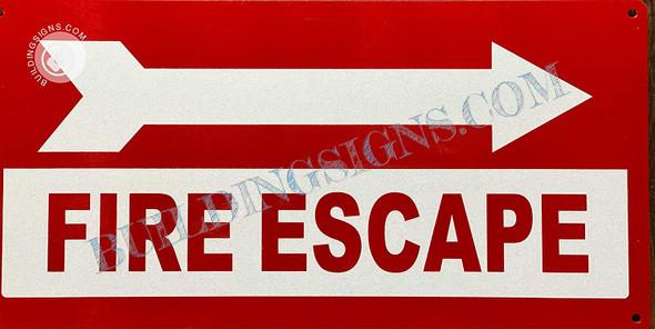Signage FIRE Escape  Right Arrow