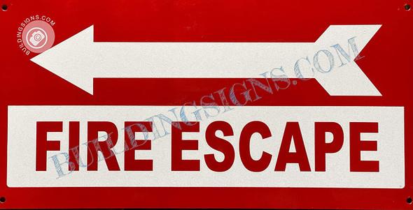 Sign FIRE Escape  Left Arrow