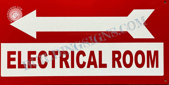 Sign Electrical Room  Left Arrow