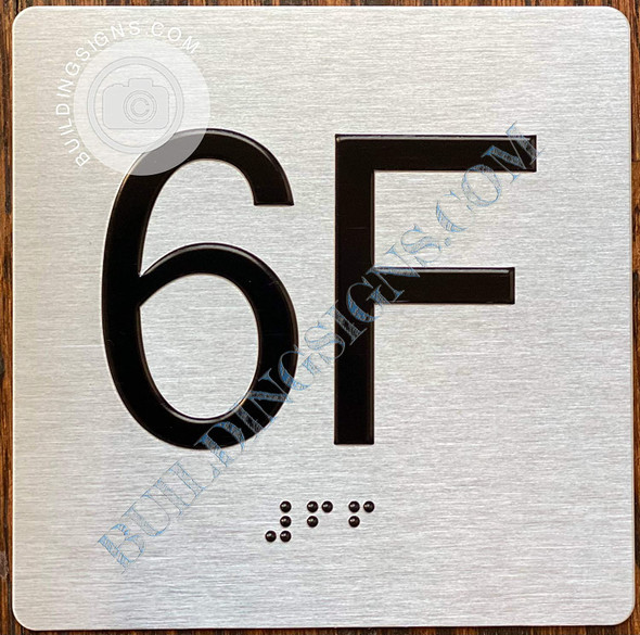 Sign Apartment Number 6F  with Braille and Raised Number