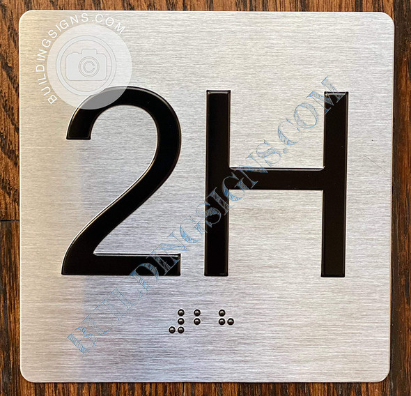 Signage Apartment Number 2H  with Braille and Raised Number