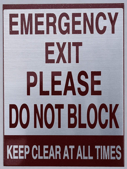 Signage Emergency EXIT Please DO NOT Block Keep Clear at All Times
