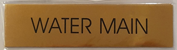 WATER MAIN SIGN - Gold BACKGROUND  WITH SELF ADHESIVE STICKER FOR INDOOR USE