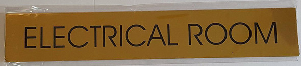 ELECTRICAL ROOM SIGN - Gold BACKGROUND - WITH SELF ADHESIVE STICKER FOR INDOOR USE