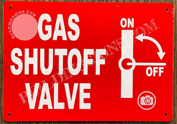 Gas Shut-Off Valve Sign with Symbol