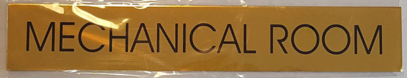 MECHANICAL ROOM SIGN - Gold BACKGROUND  WITH SELF ADHESIVE STICKER FOR INDOOR USE