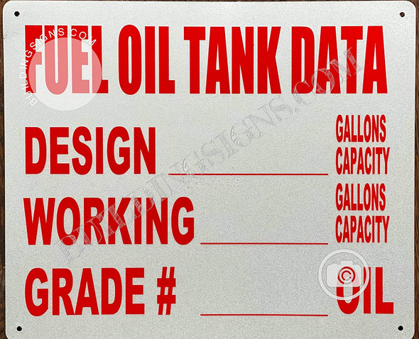 Fuel Oil Tank Data Sign (White,Aluminum 12X10)-REF202101