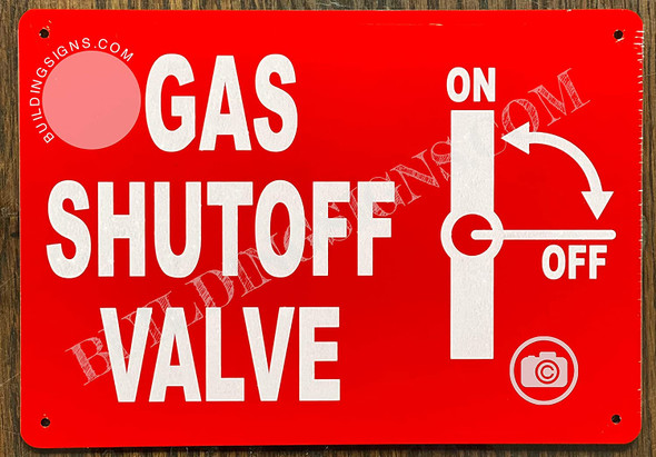 Gas Shutoff Valve Sign with Symbol