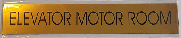 ELEVATOR MOTOR ROOM SIGN - Gold BACKGROUND  WITH SELF ADHESIVE STICKER FOR INDOOR USE
