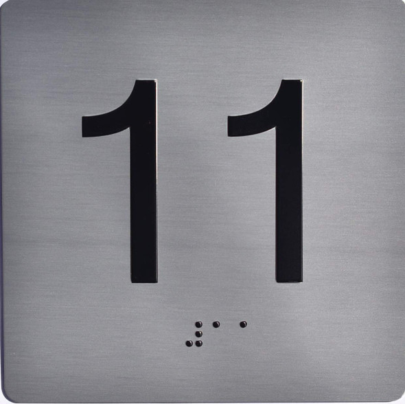 Apartment Number 11 Sign with Braille and Raised Number