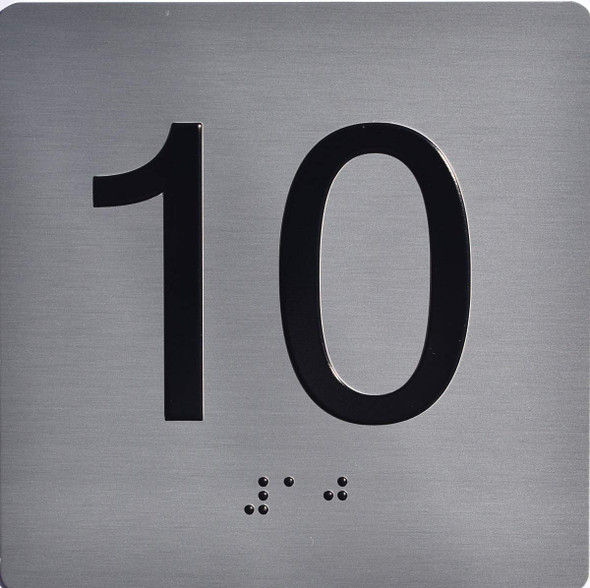Apartment Number 10 Sign with Braille and Raised Number
