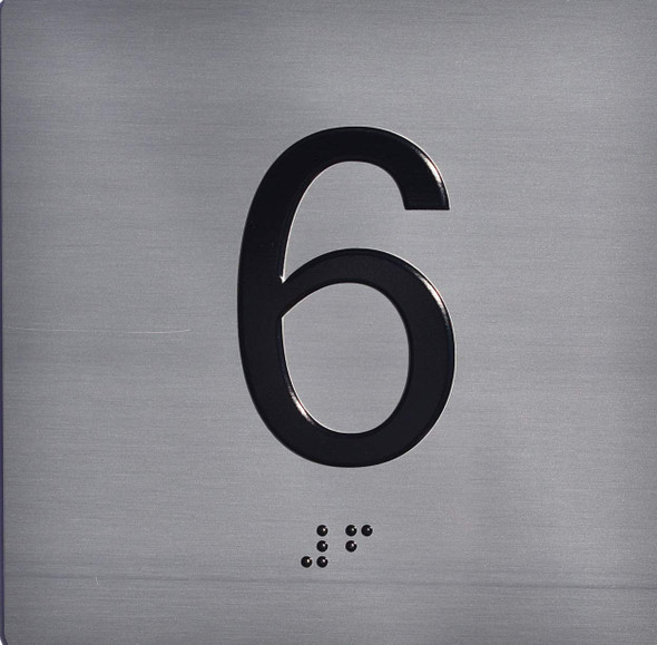 Apartment Number 6 Sign with Braille and Raised Number