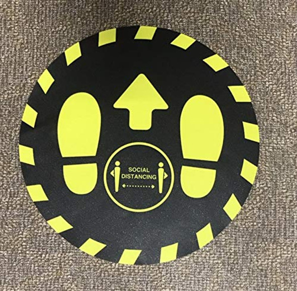 25 Pack-Please Keep Your Distance Floor Sticker (18 INCH !!!!, Yellow/Black)