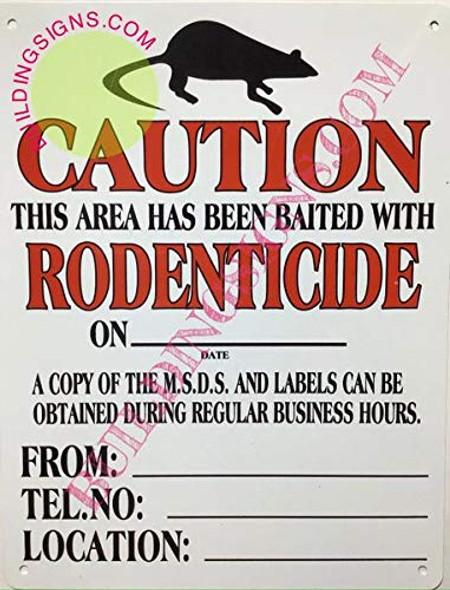 Exterminator Sign - BAITED Area Sign (White, Rust Free Aluminum 11x8.5, with Symbol)