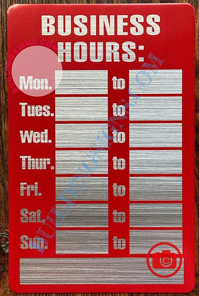 Business Hours Sign (Aluminum, RED/Brush Aluminium,5.5x8.5)