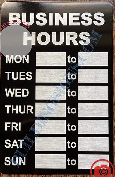 Business Hours Sign (Aluminum, Black/Brush Aluminium,5.5x8.5)