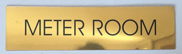 METER ROOM SIGN - Gold BACKGROUND  WITH SELF ADHESIVE STICKER FOR INDOOR USE