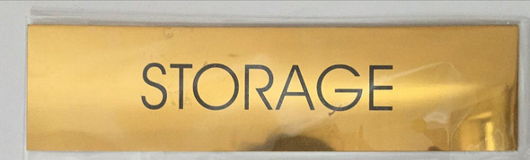 STORAGE ROOM SIGN - Gold BACKGROUND  WITH SELF ADHESIVE STICKER FOR INDOOR USE