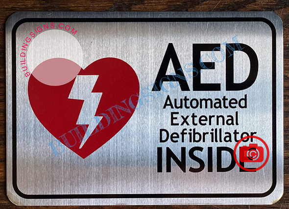 AED AUTOMATED External DEFIBRILLATOR Sign (Silver, Double Sided Tape, Aluminum, RED 3.5x5.5)