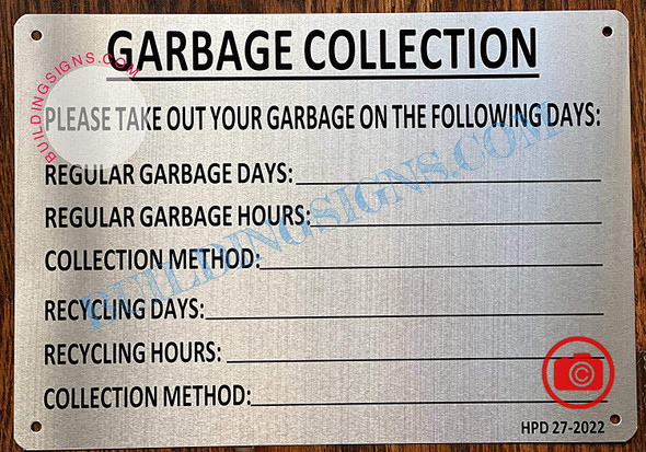 Garbage Collection Dates Sign - HPD Sign (Brush Aluminum, Size 7x10 inch, 4 Holes)