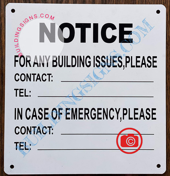 Building Contact Information Sign (White, Aluminium, 8.5X8 INCH)