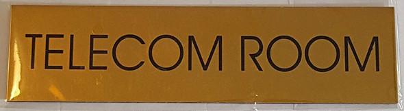 TELECOM ROOM SIGN - Gold BACKGROUND  WITH SELF ADHESIVE STICKER FOR INDOOR USE
