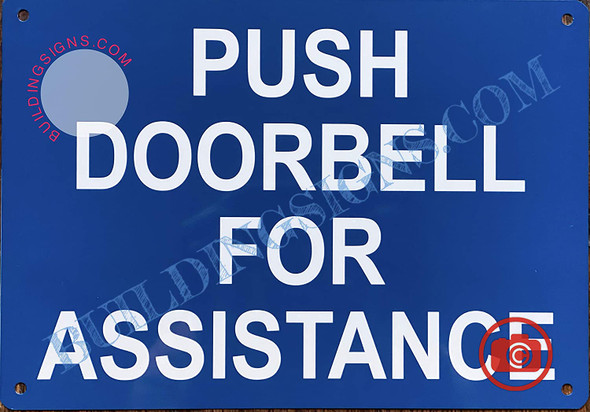 Push Door Bell for Assistance Sign