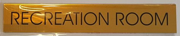 RECREATION ROOM SIGN - Gold BACKGROUND  WITH SELF ADHESIVE STICKER FOR INDOOR USE