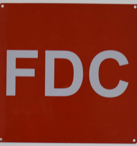 FDC Sign - FIRE Department Connection Sign (Red,10x10,Aluminium Rust Free)