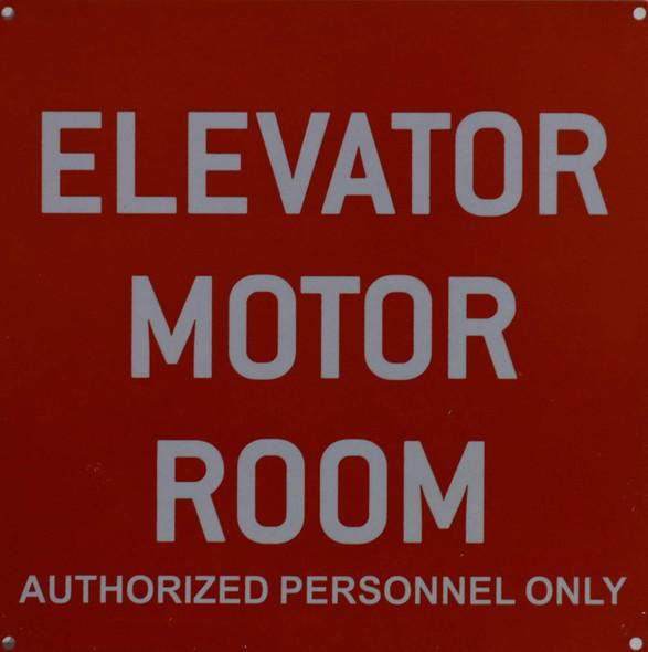 Elevator Motor Room Sign (red,10x10,Aluminium Rust Free)