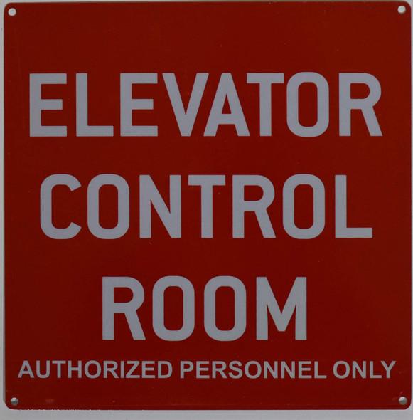Elevator Control Room Sign (red,10x10,Aluminium Rust Free)
