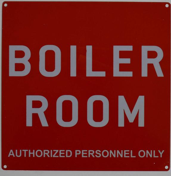 Boiler Room Sign (red 10x10 Aluminium Rust Free)