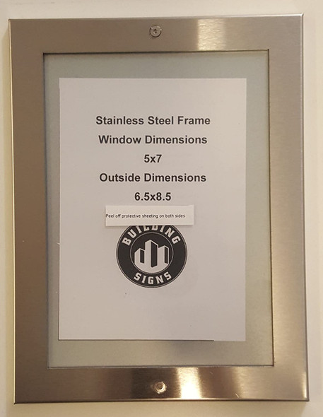 Buildingsigns.com Elevator Certificate Frame (Size 5x7, Stainless Steel)-REF202101