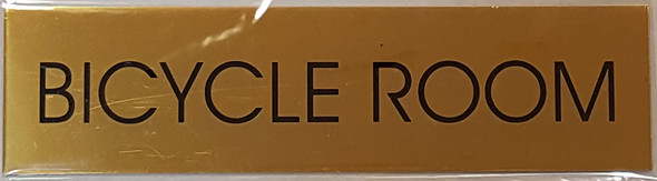 BICYCLE ROOM SIGN - Gold BACKGROUND  WITH SELF ADHESIVE STICKER FOR INDOOR USE