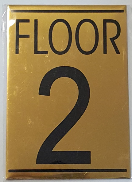 FLOOR 2 SIGN - Gold BACKGROUND
