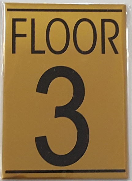 FLOOR 3 SIGN - Gold BACKGROUND