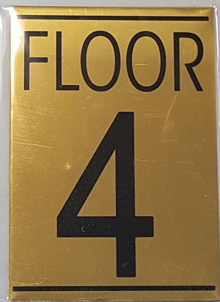 FLOOR 4 SIGN - Gold BACKGROUND