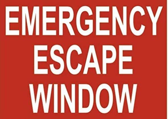 Emergency Escape Window Label Decal Sticker