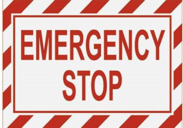Emergency Stop Label Decal Sticker Sign