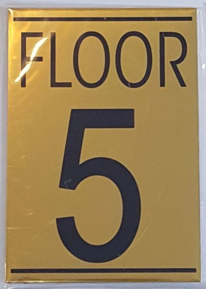 FLOOR 5 SIGN - Gold BACKGROUND