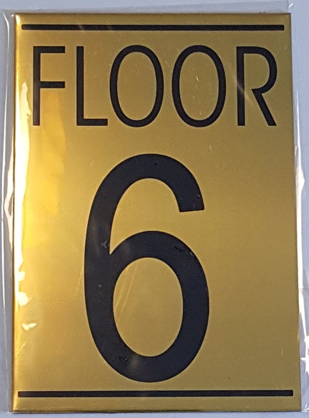 FLOOR 6 SIGN - Gold BACKGROUND
