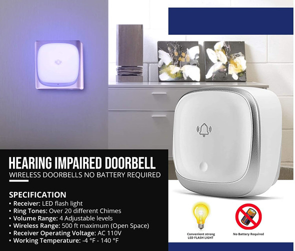 Hearing Impaired DOORBELL-Flashing Light