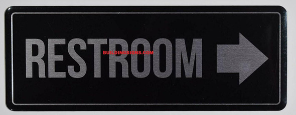 Restroom Right Arrow Sign