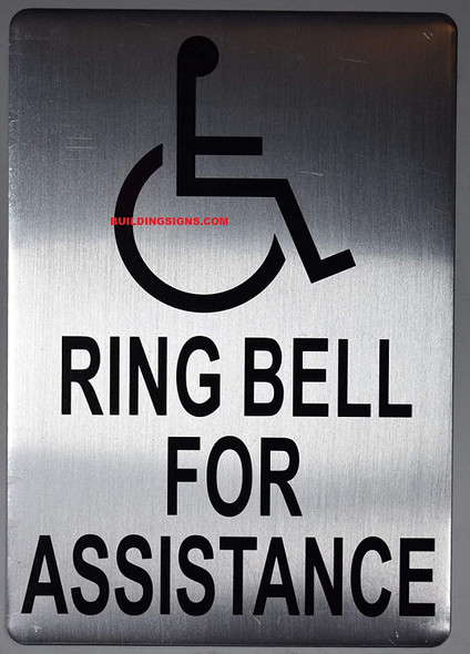 Blue ADA Ring Bell for Assistance with Symbol